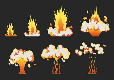 Animation for game of the explosion effect in separate frames. Cartoon animation for game. Exploding effect frames. Hand drawn vector illustration