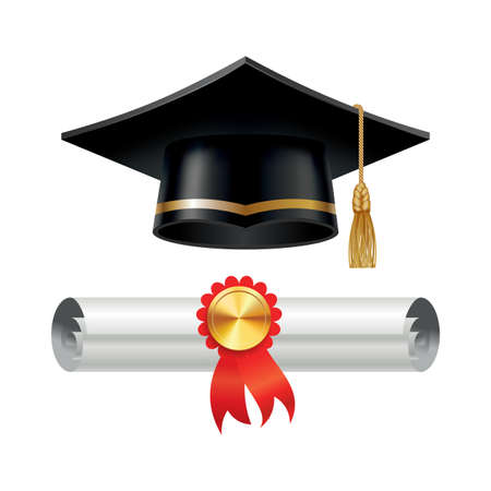Graduation cap and rolled diploma scroll with stamp. Finish education concept. Academic hat with tassel and university degree certificate. Vector illustration for announcement banner poster or flyer