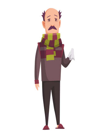 Flu cold. Flu or common cold treatment at home. Man with handkerchief in hand. Season allergy. Allergy sick or flu concept