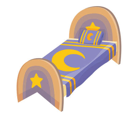 Bed cartoon. Vector illustration of color bed with pillow and cover. Icon of furniture Vecteurs