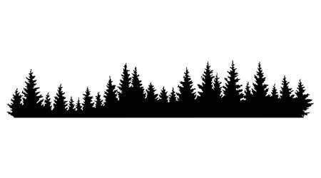 Fir trees silhouettes. Coniferous spruce horizontal background pattern, black evergreen woods vector illustration. Beautiful hand drawn panorama of a coniferous forest Ilustración de vector