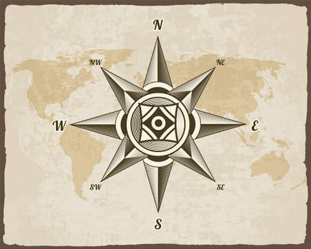 Nautical antique compass sign on old paper texture world map with torn border frame. Element for marine theme and heraldry. Vintage vector wind rose label emblem