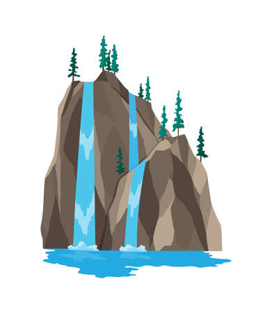 Cartoon river waterfall. Landscape with mountains and trees. Design element for travel brochure or illustration mobile game. Fresh natural water