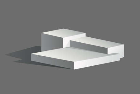 Podium realistic. Showroom pedestal, floor stage platform vector isolated mockup. 3D realistic square empty podium with steps. Concept of showcase for product, promotion sale or presentation