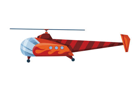 Helicopter cartoon aviation. Avia transportation with propeller isolated on white. Vector copter aircraft rotor plane cargo. Civil or army military transport helicopter