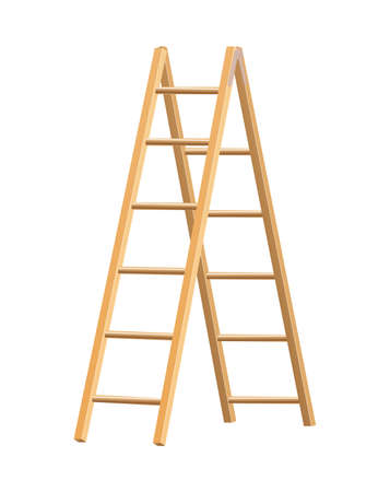 Wooden ladder household tool. Step ladder for domestic and construction needs. Isolated vector illustration