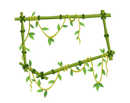 Tropical liana frame, jungle plant branches with leaves. Tropical climbing liana vine with green leaves. Cartoon lianas frame shaped. Liana branches