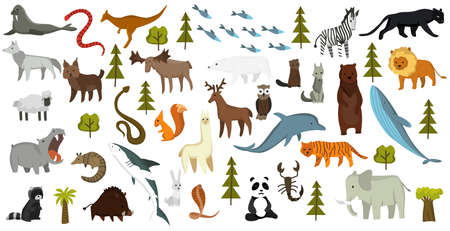 Collection of cute vector animals. Hand drawn animals which are common in America, Europe, Asia, Africa. Icon set isolated on a white background Vektorové ilustrace