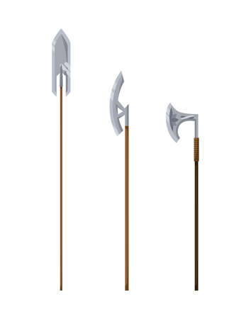 Medieval weapon collection. Ancient weaponry, war and heraldry concept. Illustration of melee weapon icons. World melee weaponry. Symbol isolated on white background