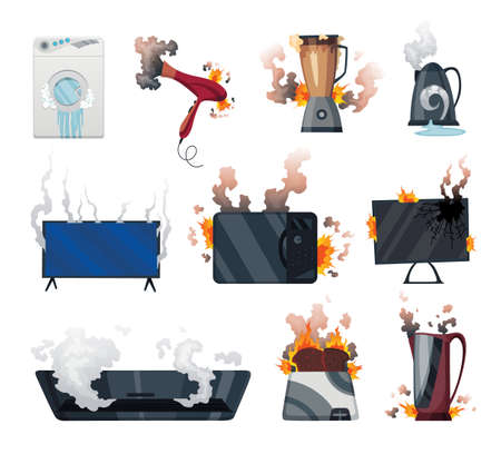 Broken home appliances. Damaged electrical household equipment. Domestic icons isolated on white. Burning electronics. Homeappliances or burnt electrical household equipment in fire