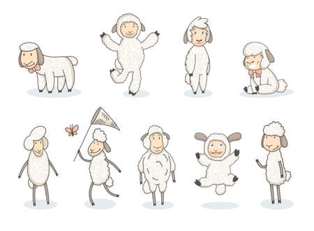 Cute white sheep collection. Cartoon funny sheeps in hand drawn style. Vector set of graphic design elements for kids poster