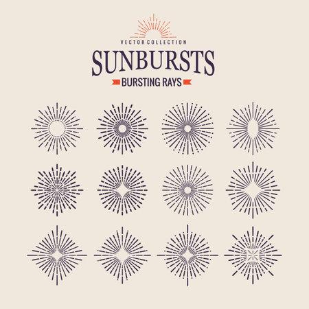 Sunburst icon set. Retro hand drawn sparkle. Geometric sun beams in different forms. Bursting rays design elements. Star shining form of lines Vektoros illusztráció