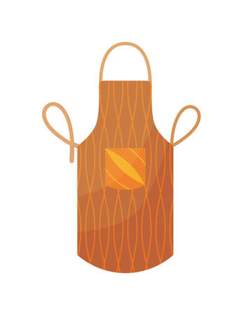 Kitchen apron in bright colours with pocket and design form. Colorful protective garment with pattern background isolated on white background. Cooking uniform for housewife or chef Ilustracje wektorowe