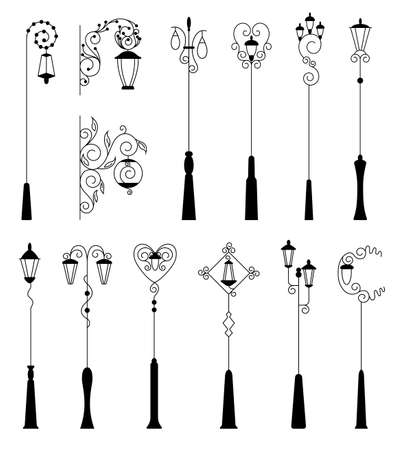 Street light, black silhouettes collection. Street retro road lamp set. Vintage light for aristocratic exterior. Vector decorative lamp posts