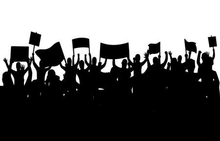 Peaceful protest and revolution. Silhouette of riot protesting crowd demonstrators with banners and flags. People on the meeting, crowd with banners. Vector illustration of conflict