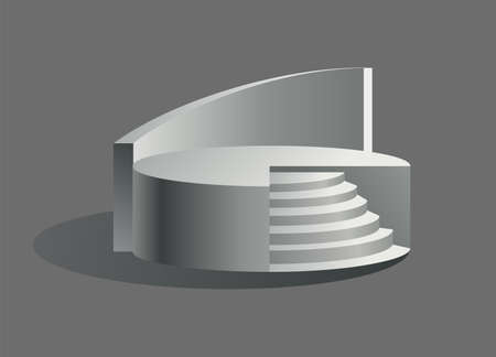 Podium realistic. Showroom pedestal, floor stage platform vector isolated mockup. Round and square 3d empty podium with steps. Concept of showcase for product, promotion sale or presentation Vektoros illusztráció
