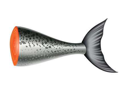 Salmon fish. Part of the carcass isolated on white background. Raw seafood vector illustration. Realistic product of healthy nutrition Vetores