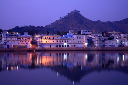 ghat: ghats on pushkar lake, rajasthan, indiaafternoon, ancient, angle, banks, blue, ceremony, city, evening, ghat, hill, hindu, historical, history, holy, important, india, indian, lake, landscape, mythological, purify, pushkar, rajastan, rajastani, rajasthan,