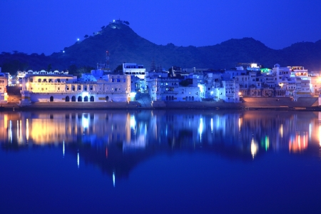 ghats on pushkar lake, rajasthan, india photo