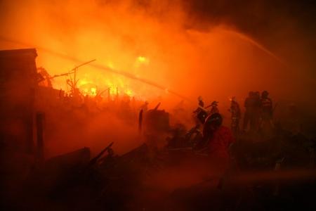 arson: Image of a burned abandoned house in slum, thailand Stock Photo