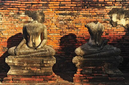 headless Buddha ruins at the temple of Wat Chai Wattanaram in Ayutthaya near Bangkok, Thailand  photo