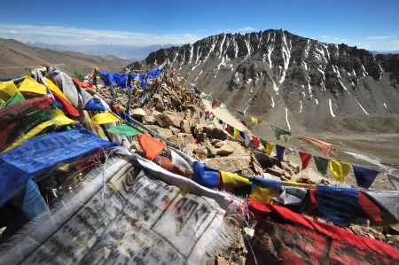 Buddhist prayer flags, Ladakh , india photo