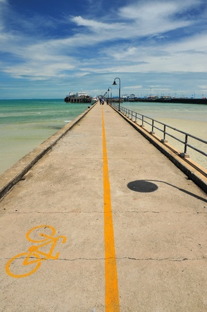 Bicycle lane sign on pier at samui, thailand photo