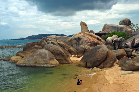 Bizarre rock (hin ta hin yai) formation on the island of Koh Samui very famous landmark of samui  Stock Photo