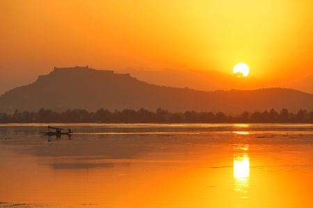 kashmir: sunset in Dal Lake Srinagar Kashmir India