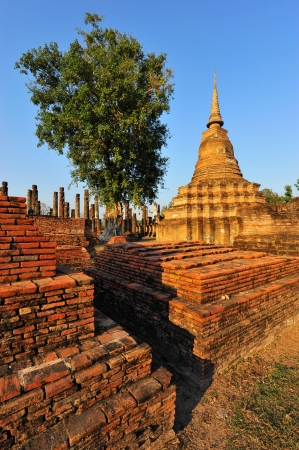 Wat Mahathat Temple in Sukhothai Historical park at sunrise, Thailand photo