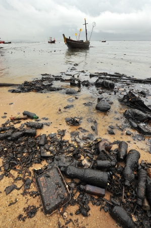 Oil spill  Contaminated Beach Oil spill  Contaminated Beach  photo