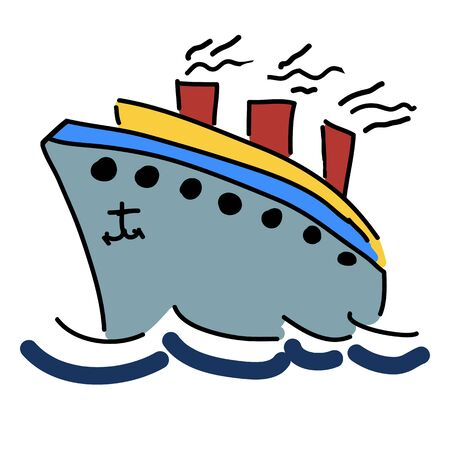 illustration with a ship  Vector