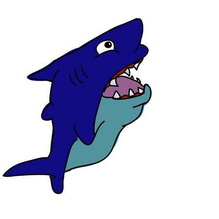 blowfish: shark cartoon Stock Photo