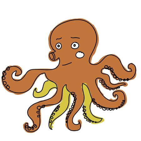 blowfish: brown squid cartoon