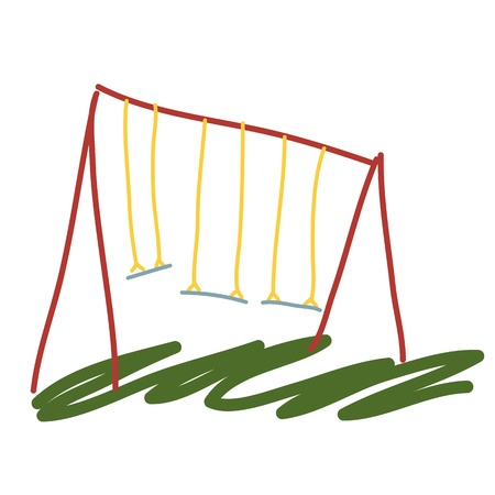 garden swing cartoon illustration