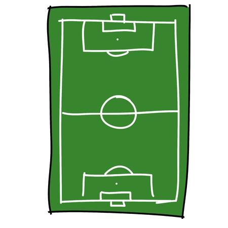 cancha de futbol: campo de fútbol de dibujos animados dibujar