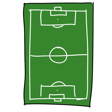 soccer field cartoon draw Vector