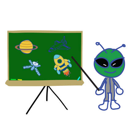 backboard writing with space object and alien instructor  Vector
