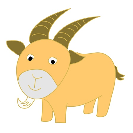 Cabra del personaje de dibujos animados sobre fondo blanco Ilustración de vector