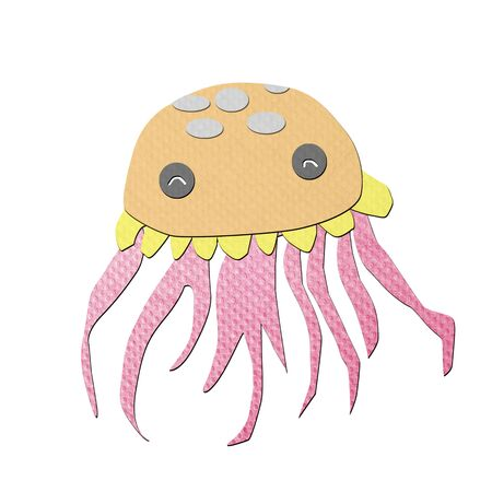 tissue papercraft: jellyfish tissue papercraft on white background