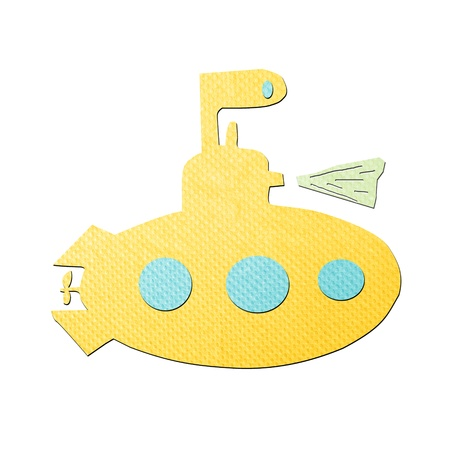 tissue papercraft: yellow submarine tissue papercraft on white background Stock Photo