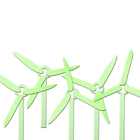 tissue papercraft: green wind generator tissue papercraft on white background