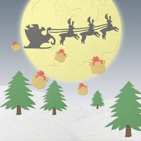 Santa Claus driving in a sledge made from tissue papercraft Stock Photo - 16758951