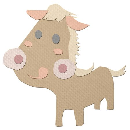 tissue papercraft:  cartoon horse tissue papercraft on white background
