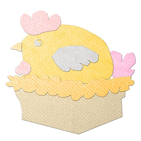 Hen made from tissue papercraft photo
