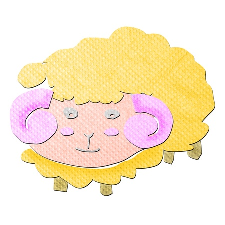 tissue papercraft: funny cartoon sheep tissue papercraft on white background