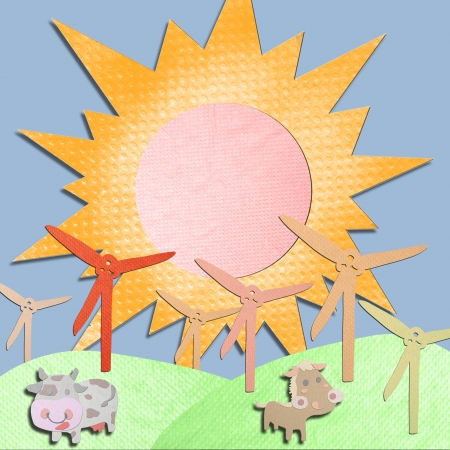 tissue papercraft: wind generator and animal farm made form tissue papercraft Stock Photo