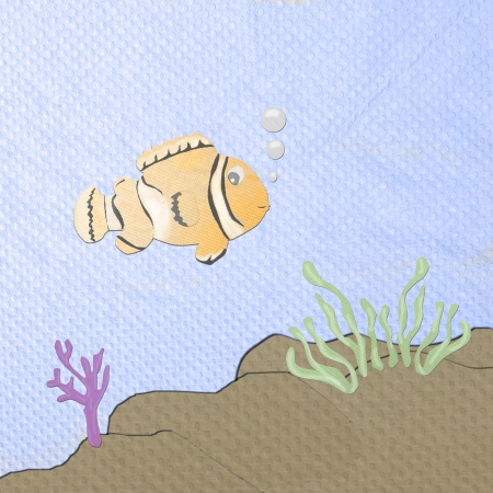 orange anemonefish cartoon made from tissue papercraft Stock Photo - 16758965