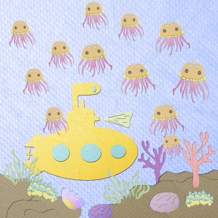 tissue papercraft: Underwater life - coral reef with jellyfish bloom and submarine on a blue sea background from tissue papercraft Stock Photo