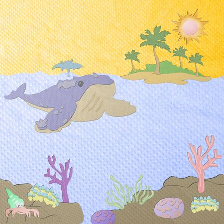tissue papercraft: Underwater life - coral reef with whale on a blue sea background